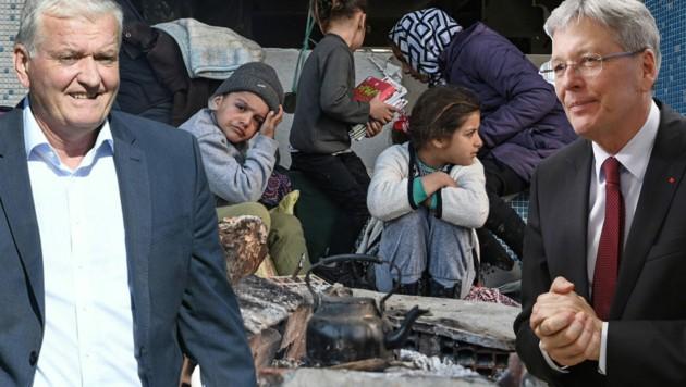 Während sich Kärntens SPÖ-Landeshauptmann Peter Kaiser (re.) für Aufnahme von Flüchtlingen ist, lehnt der niederösterreichische SPÖ-Landeschef Franz Schnabl diese ab. (Bild: AFP, APA/ROBERT JAEGER, APA/GERT EGGENBERGER)