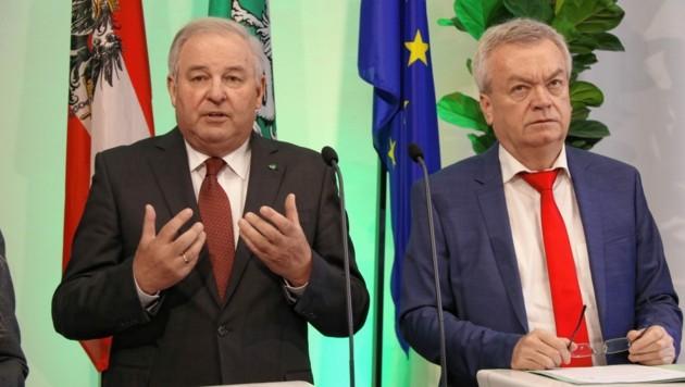 Hermann Schützenhöfer und Anton Lang. (Bild: Christian Jauschowetz)
