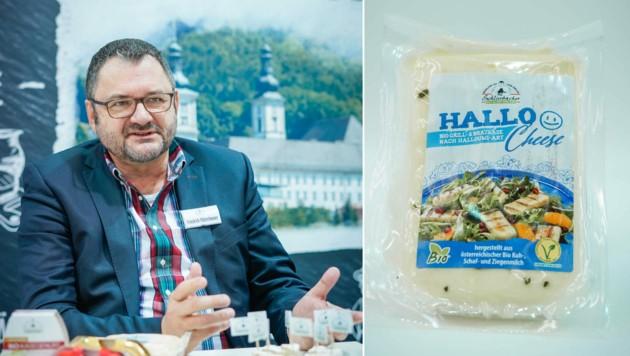 Friedrich Mitterhumer stellte in Nürnberg den Grill- und Brat-Käse nach Halloumi-Art vor. (Bild: Markus Wenzel (2))