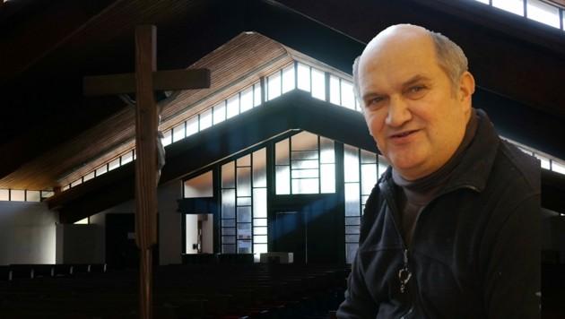 Johannes Pichler, Pfarrer in Klagenfurt-St.Theresia, und sein Filmteam übertragen nun Gottesdienste über die sozialen Medien (Bild: Pfarre St. Theresia)