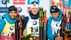 Martin Fourcade (FRA) , Johannes Thingnes Bö (NOR) und Emilien Jacquelin (FRA) (Bild: AP)