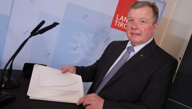 """Der Tiroler Gesundheitslandesrat Tilg betonte mehrmals, dass Tirol """"alles richtig gemacht"""" habe. (Bild: Birbaumer Christof)"""