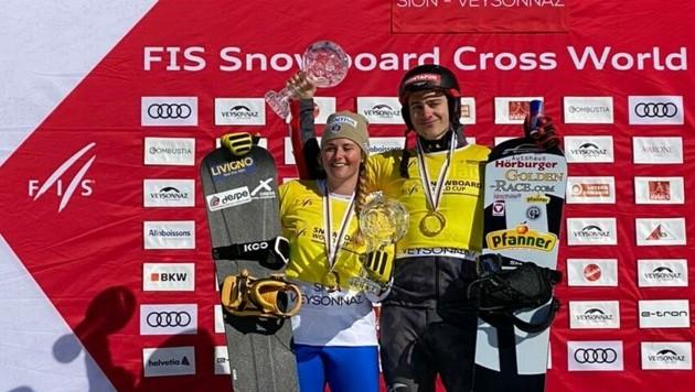 Im März 2020 feierten der Montafoner Alessandro Hämmerle (re.) und die Italienerin Michela Moioli in Veysonnaz (Sui) ihre Gesamtweltcupsiege. (Bild: Österreichischer Skiverband)