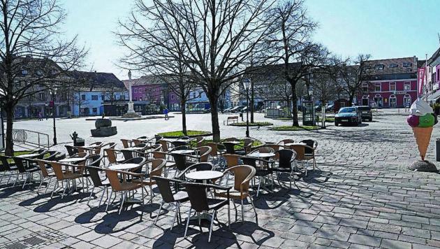 Der Fürstenfelder Hauptplatz blieb ebenso leer (Bild: Sepp Pail)