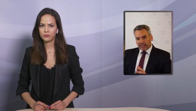 Katia Wagner im Gespräch mit Innenminister Karl Nehammer. (Bild: krone.tv)