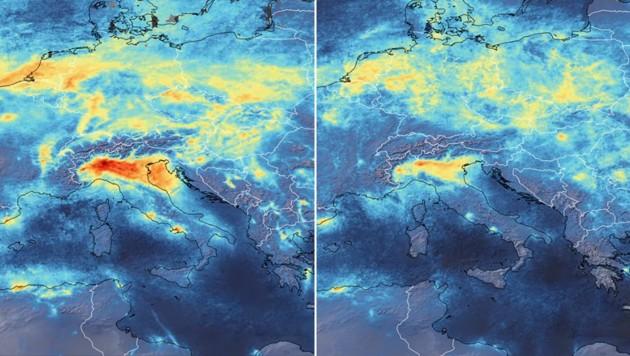 Die Stickstoffdioxid-Konzentration über Norditalien war im Jänner (links) noch deutlich höher (rot) als am 11. März (rechts). (Bild: ESA)