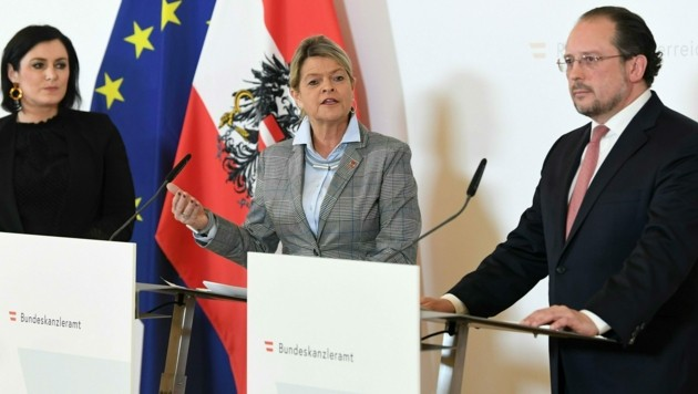 Zivildienstministerin Elisabeth Köstinger, Verteidigungsministerin Klaudia Tanner und Außenminister Alexander Schallenberg (v.l.) (Bild: APA/HELMUT FOHRINGER)