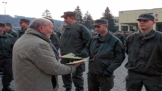 Soldaten bei einer Angelobung in der Goiginger Kaserne im Jahr 2018. (Bild: Bundesheer)