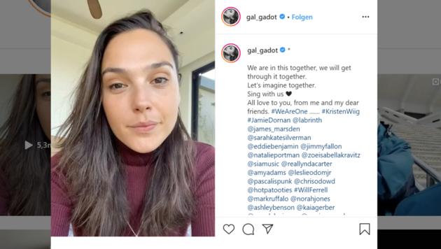"""""""Wonder Woman""""-Darstellerin Gal Gadot hat zahlreiche Stars für ein Ständchen in der Corona-Krise gewinnen können. (Bild: instagram.com/gal_gadot)"""
