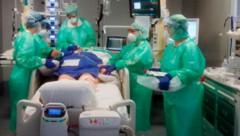 Ein Krankenhaus in der italienischen Stadt Bergamo (Bild: AP)