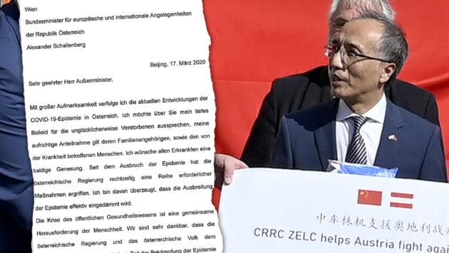 """Chinas Botschafter Li Xiaosi dankt den Österreichern: """"Wir wollen nach Möglichkeit helfen, denn wir werden eure Hilfe nie vergessen."""" (Bild: APA/HERBERT NEUBAUER, krone.at-Grafik)"""