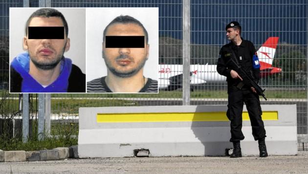 Das Brüderpaar Klement (32) und Eldi Ç. (35) soll hinter dem spektakulären Flugzeugcoup in Tirana stecken. (Bild: AFP, asp.gov.at, krone.at-Grafik)