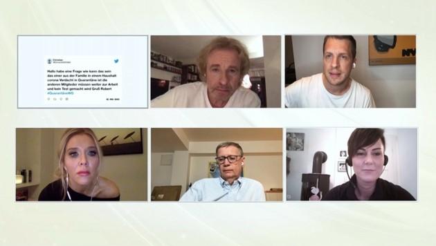 """In """"Die Quarantäne-WG"""" beantworten Thomas Gottschalk (oben l.), Oliver Pocher, Moderatorin Laura Karasek, Günther Jauch (unten Mi.) und Oberärztin Dr. Carola Holzner (unten r.) Zuschauerfragen. (Bild: RTL/TVNOW)"""