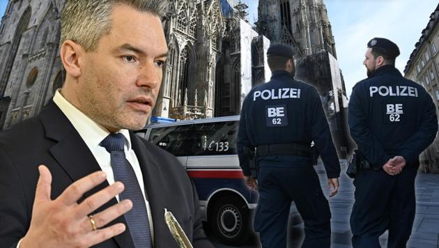 Geänderte Kriminalitätsformen halten Innenminister Karl Nehammer und die Polizei auf Trab. (Bild: APA/FOHRINGER, APA/HANS PUNZ, krone.at-Grafik)