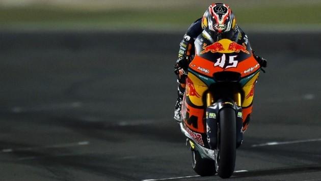 Tetsuta Nagashima fuhr beim Grand-Prix von Katar in der Moto2-Klasse den Sieg für KTM ein. (Bild: EPA)