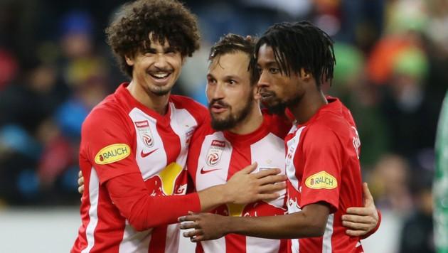 Andre Ramalho, Andreas Ulmer und Majeed Ashimeru (v. li.) (Bild: Andreas Tröster)
