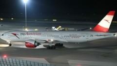 Die AUA-Maschine nach der Landung in Wien-Schwechat. (Bild: Patrick Huber)