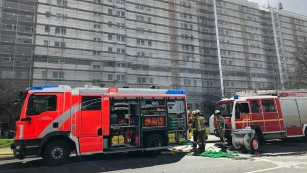 1200 Quadratmeter Dach von fünf zusammenhängenden Hochhäusern brannten in Berlin. (Bild: Berliner Feuerwehr)