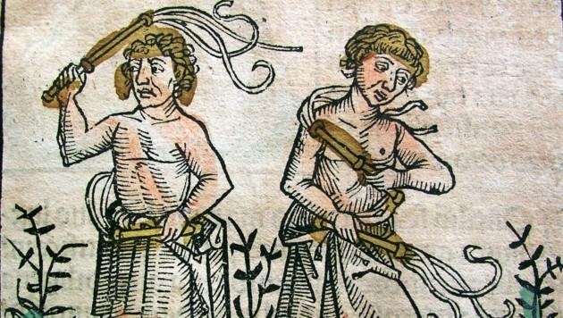 Ein kolorierter Holzschnitt mit sich geißelnden Männern in der Schedelschen Weltchronik. (Bild: Sammlung Gießauf)