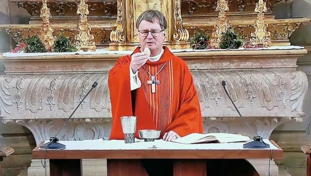 Bischof Manfred Scheuer hielt den Gottesdienst zum Palmsonntag in der Priesterseminarkirche in Linz. (Bild: Barbara Kneidinger)