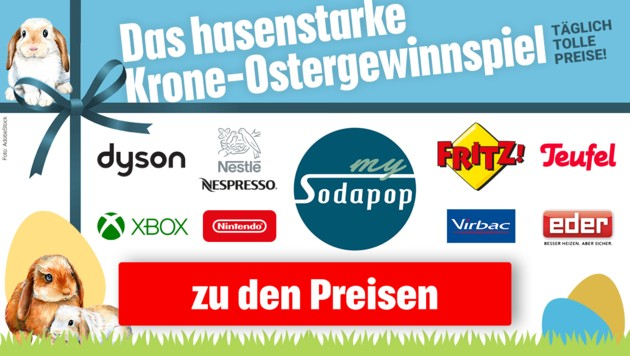 (Bild: AdobeStock, Kronen Zeitung, krone.at-Grafik, dyson, Sodapop, Nestlé, Nintendo, Xbox, AVM, Anton Eder, Nespresso)