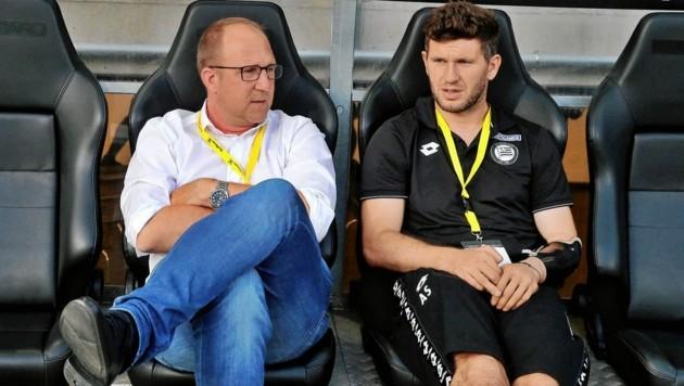 Andreas Schicker (r.) folgt Günter Kreissl (l.) in der Rolle als Geschäftsführer Sport bei Sturm. (Bild: GEPA pictures/Hans Oberländer)