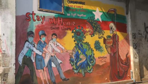 Kritiker sahen in dem roten Umhang des Sensenmanns ein Mönchsgewand. (Bild: Myitkyina News Journal)