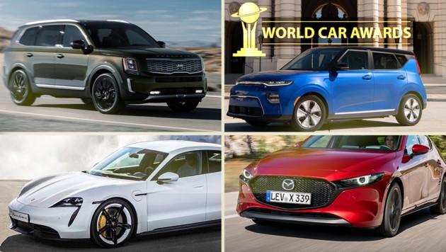 (Bild: Kia, Porsche, Mazda, WCOTY, krone.at-Grafik)