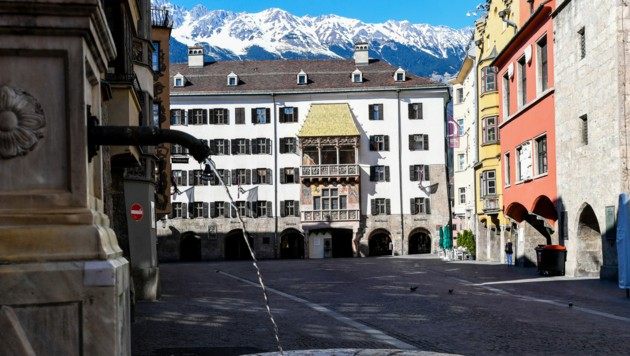 Die leere Innsbrucker Altstadt. Mittlerweile ein gewohntes Bild. (Bild: APA/EXPA/ERICH SPIESS)