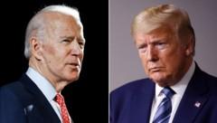 Joe Biden (li.) und der amtierende US-Präsident Donald Trump werben derzeit offensiv um die Stimmen von Bernie Sanders, der am Mittwoch aus dem Präsidentschaftsrennen ausgestiegen ist. (Bild: AP)