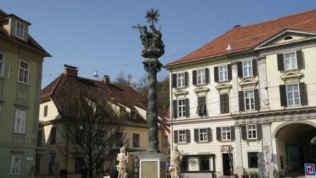 Die Pestsäule am Grazer Karmeliterplatz. (Bild: Sepp Pail)