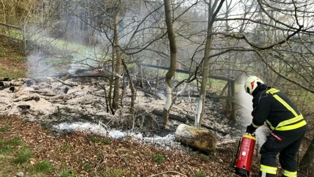 Die Corona-Bereitschaftstruppe der Feuerwehr Freistadt musste auch einen Flurbrand löschen (Bild: FF Freistadt)