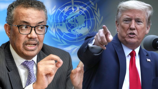 WHO-Chef Tedros Adhanom Ghebreyesus und US-Präsident Donald Trump (Bild: Alex Wong/Getty Images/AFP, AFP, krone.at-Grafik)