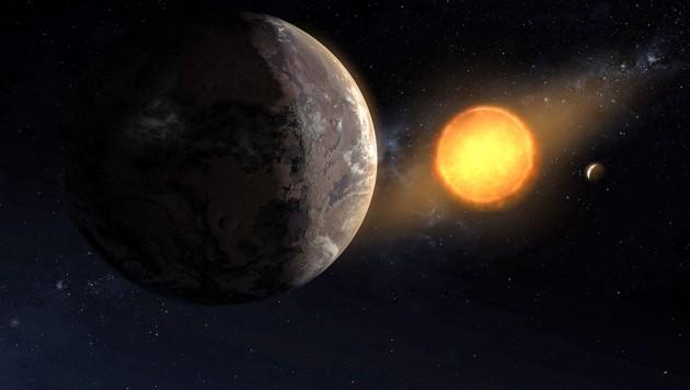 """Künstlerische Illustration: """"Kepler-1649c"""" (links) vor seinem Zentralgestirn (Bild: NASA/Ames Research Center/Daniel Rutter)"""