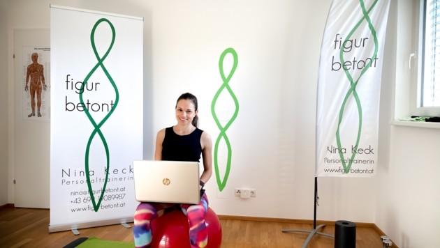Auch Nina Keck trainiert online mit ihren Kunden (Bild: zvg/figurbetont)