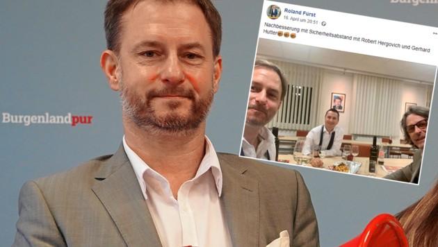 SPÖ-Landesgeschäftsführer Roland Fürst (li.) mit Robert Hergovich (SPÖ-Klubmann im burgenländischen Landtag) und Gerhard Hutter, dem Bürgermeister von Bad Sauerbrunn (Bild: SPÖ Burgenland, facebook.com/roland.furst.12)