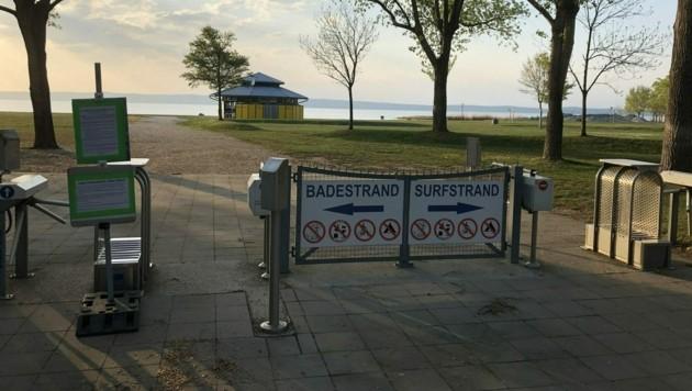 Der Eingang zum Seebad in Podersdorf (Bild: APA/MARIO MICHLITS)