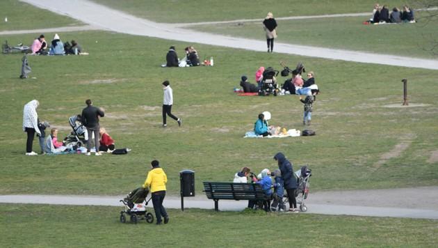 Am Samstag zog es viele Schweden in die Parks, um das schöne Wetter im Freien zu genießen. Bars und Restaurants haben in Schweden nach wie vor geöffnet, lediglich Zusammenkünfte von mehr als 50 Personen sind verboten. (Bild: AFP)