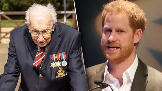 Von Prinz Harry gab es großes Lob für Tom Moore. (Bild: AFP/Andrew Milligan/POOL/AFP, AFP/Maytrix Group, krone.at-Grafik)