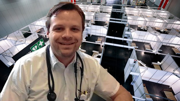 Polizeiarzt Dr. Pelanek leitet das Corona-Bettenlazarett in der Messe Wien. (Bild: APA/GEORG HOCHMUTH, Christoph Pelanek)