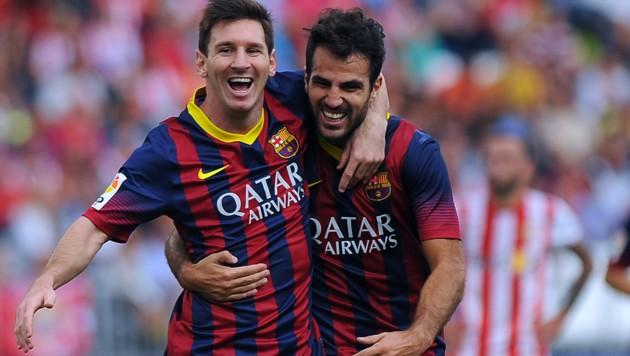 Lionel Messi (links) und Cesc Fabregas (Bild: AFP )