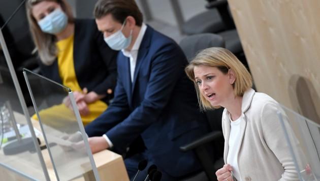 """Beate Meinl-Reisinger warnte vor einem ,,Blankoscheck"""" für den Finanzminister."""