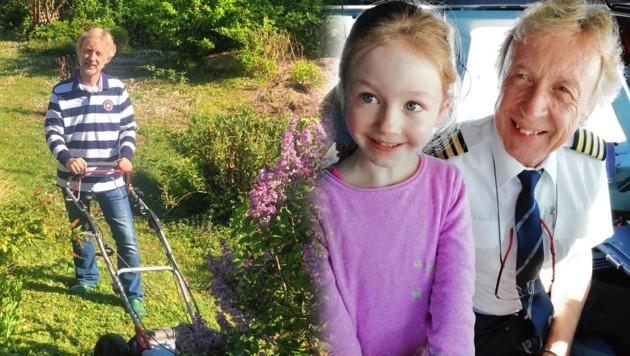 """Enkelin Becky freut sich, wenn sie """"Käpt'n Opa"""" wieder in den Simulator begleiten darf. Bis dahin gibt es für Klaus Granegger Gartenarbeit. (Bild: Gabriela Gödel, Privat, krone.at-Grafik)"""