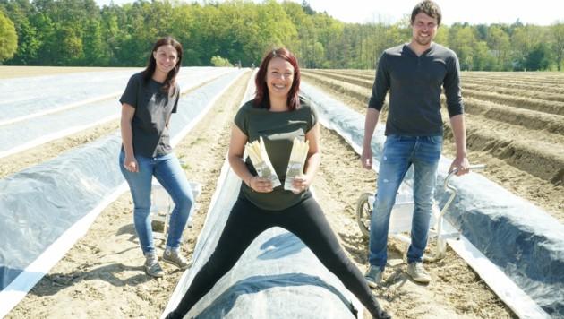 """Die """"Jungen, wilden Gemüsebauern"""" Claudia Hofer (Mitte), Irene Gombotz und Markus Klobassa (Bild: Sepp Pail)"""