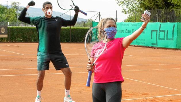 Tamira Paszek und Doppelspezialist Philipp Oswald trainieren derzeit gemeinsam in Dornbirn. (Bild: Maurice Shourot)