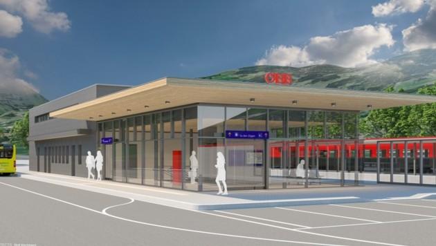 So soll der neue Kirchberger Bahnhof Ende 2021 aussehen. (Bild: ÖBB/Ostertag Architects)