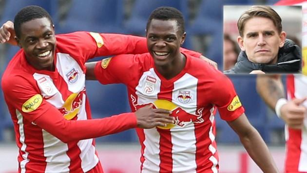 Sportdirektor Christoph Freund (kl. B.) hofft, die Spieler um Enock Mwepu (li.) und Patson Daka bald wieder bei Spielen jubeln zu sehen. (Bild: Fotomontage/Bilder: Gepa)