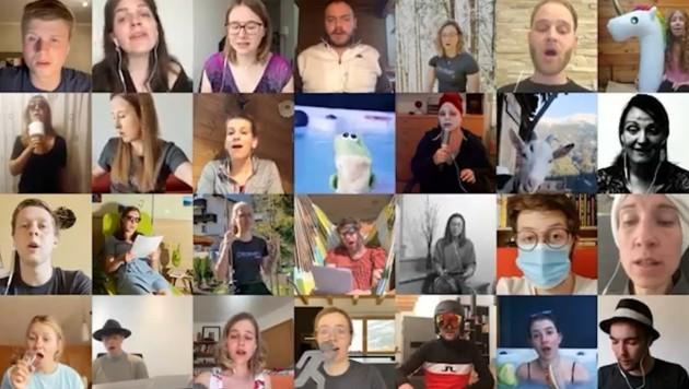 """28 Audio- und 30 Videospuren sowie 11 GB Bildmaterial haben die Mitglieder von """"CHORrekt"""" zu einem Video verarbeitet. (Bild: Krone)"""