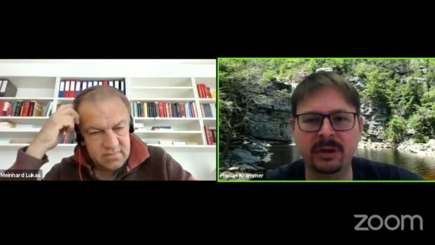 Meinhard Lukas und Florian Krammer am Montagnachmittag im Zoom-Gespräch (Bild: Screenshot)