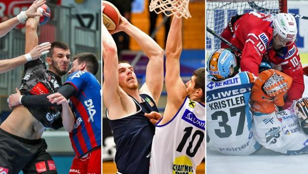 Ein Handballmatch ohne Körperkontakt wird es niemals geben. Auch im Eishockey ist daran nicht zu denken. Der Mannschaftssport steht still. (Bild: GEPA)